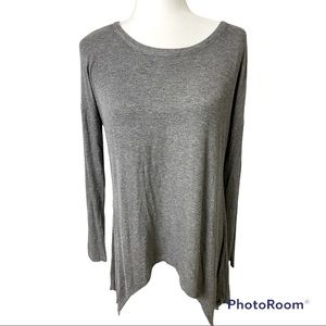 Grace & Lace Everyday Favorite Grey Ribbed Long Sleeve Sz Small